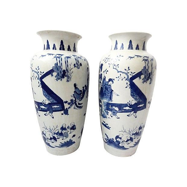 Hand-Painted Blue & White Vases, Pair - Image 9 of 9