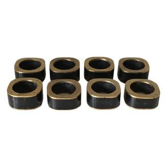 Vintage Exotic Ebony Wood & Brass Napkin Rings - Set of 8