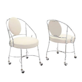 Pair of Faux Bamboo Chrome Fireside Lounge Side Chairs For Sale