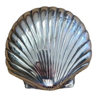 Vintage Pewter Shell Box For Sale