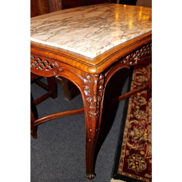 French Louis XV Style Marble-Top Library Table For Sale - Image 5 of 8