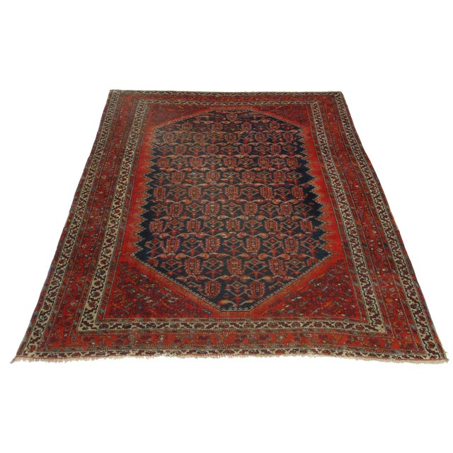 Hand Knotted Wool Persian Malayer Rug. Geometric, all-over design.