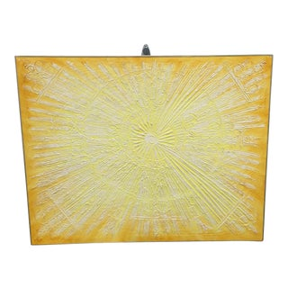 1960s Yellow Abstract Sunburst Painting by Van Hoople