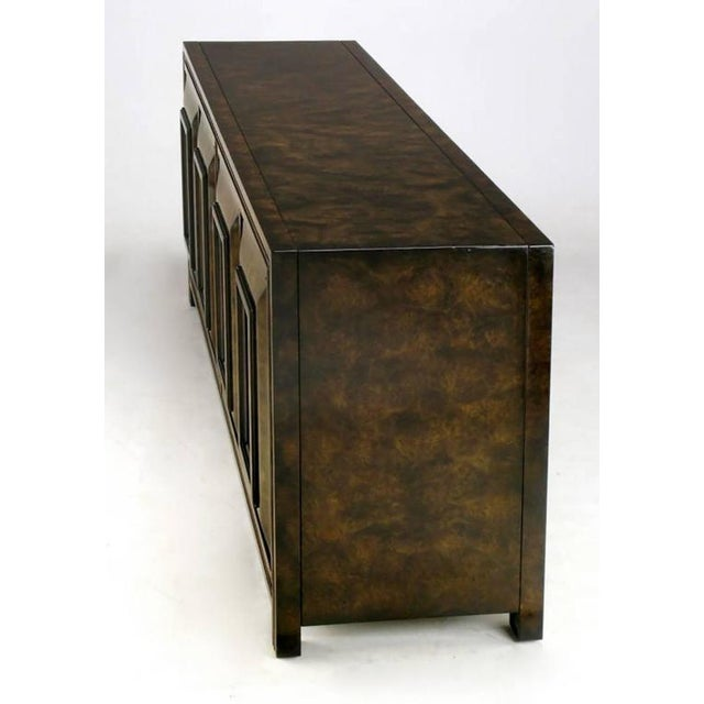 Mid-Century Modern Elegant Burled Amboyna and Brass Sideboard by Mastercraft For Sale - Image 3 of 8