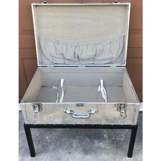 Japanese Post War Aluminum Riveted Trunk on Iron Stand With Glass Top, Restored For Sale - Image 10 of 12