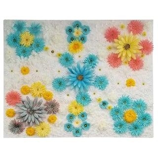Silk Floral Art on Canvas by Neat For Sale
