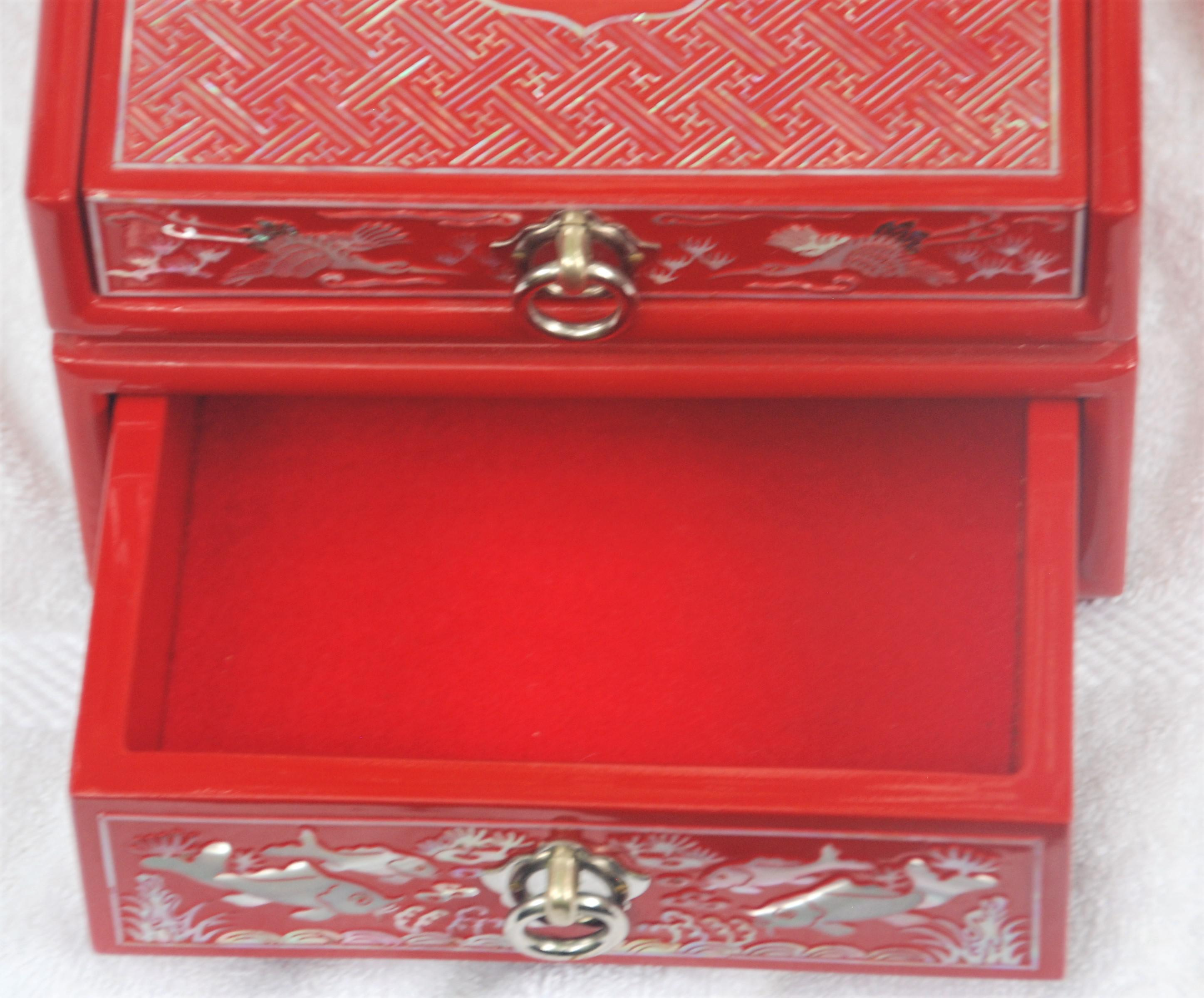 Red Lacquered Asian Jewelry Box Chairish