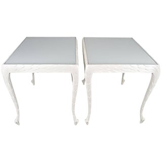 Acanthus Leaf Carved Tables with White Glass Tops For Sale
