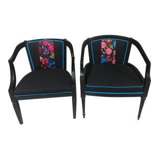 1970s Vintage Mexican Embroidery Restored Chairs- A Pair For Sale