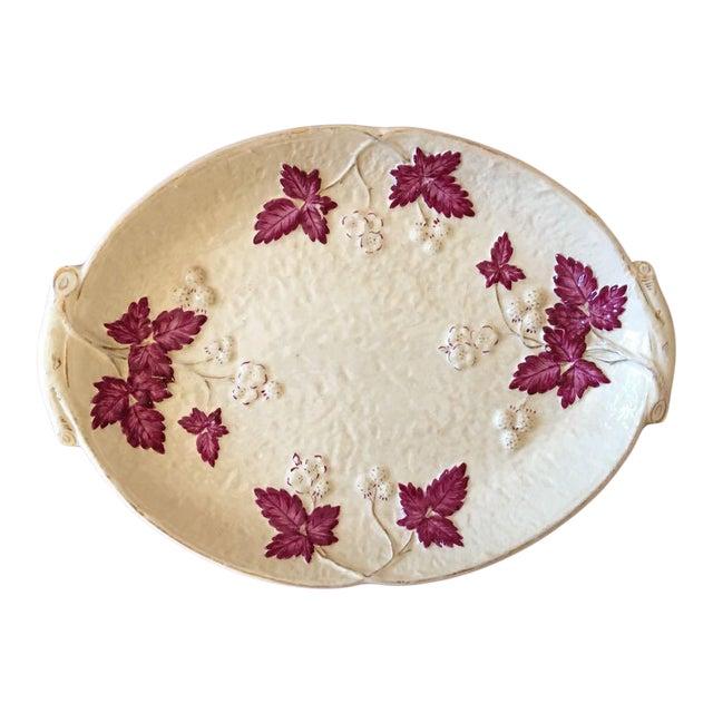 Antique Chesapeake Pottery David Haynes Faience Majolica Raspberries Platter For Sale