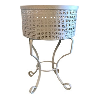 Mid Century Expanded Metal White Plant Stand For Sale