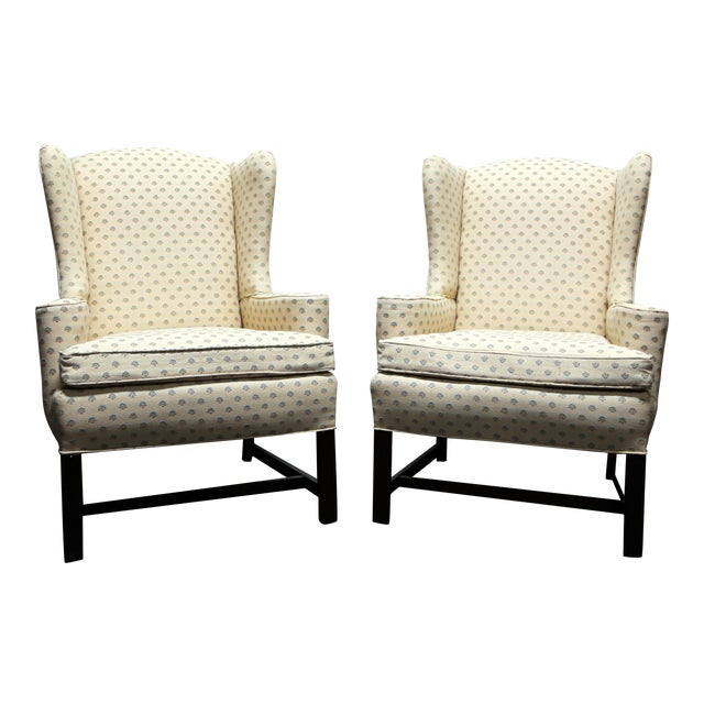 Chippendale Style Mahogany Wing Back Chairs by Conover Chair Co - Pair For Sale