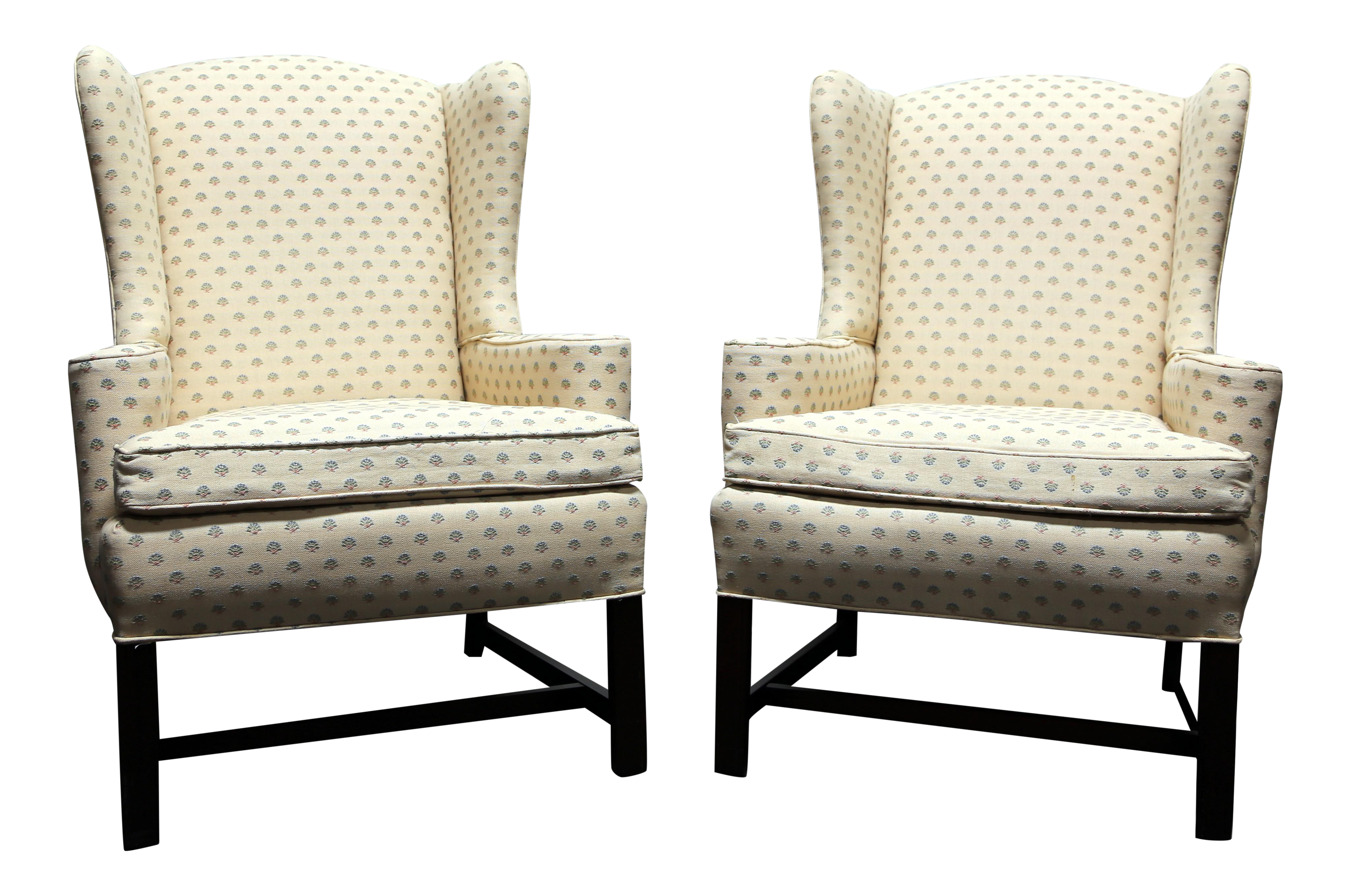 Chippendale Style Mahogany Wing Back Chairs By Conover Chair Co   Pair
