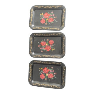 1950s Painted Black Metal Trays - Set of 3 For Sale