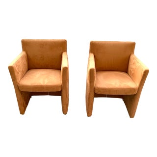 Late 20th Century Vintage Ultrasuede Club Chairs - a Pair For Sale