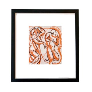 "Mid-Century ""Two Dancing Figures"" Ink Drawing For Sale"