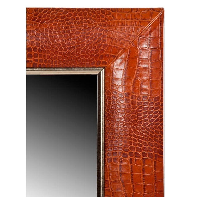 """Cognac Croc Embossed Italian Leather with antique gold accent inner detailing • 1 ¼"""" Beveled Mirror • 4"""" wide leather..."""