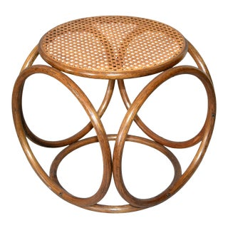 Michael Thonet Bentwood and Cane Stool Ottoman / Side Table For Sale