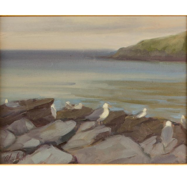 Seagulls on the Rocks on Monhegan island - Oil on Canvas, signed lower left - Framed dimensions: 18 in x 21 in; Image...