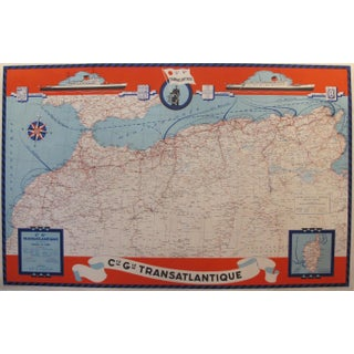 1950 Original French Maritime Map, North Africa For Sale