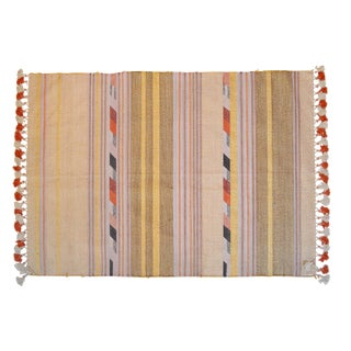 Boho Chic Pink and Gold Woven Stripe Rug - 4′3″ × 6′7″ For Sale