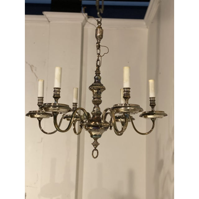 Metal 1920's Caldwell Six Light Silver Plated Chandelier For Sale - Image 7 of 9