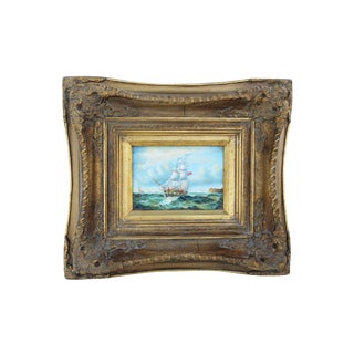 Painting of a Seafaring Ship in Carved Biggs & Sons Frame For Sale