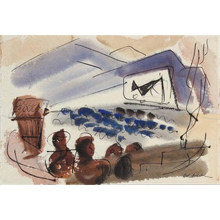 Abstracted Drive in Movie Scene 1944 Watercolor For Sale