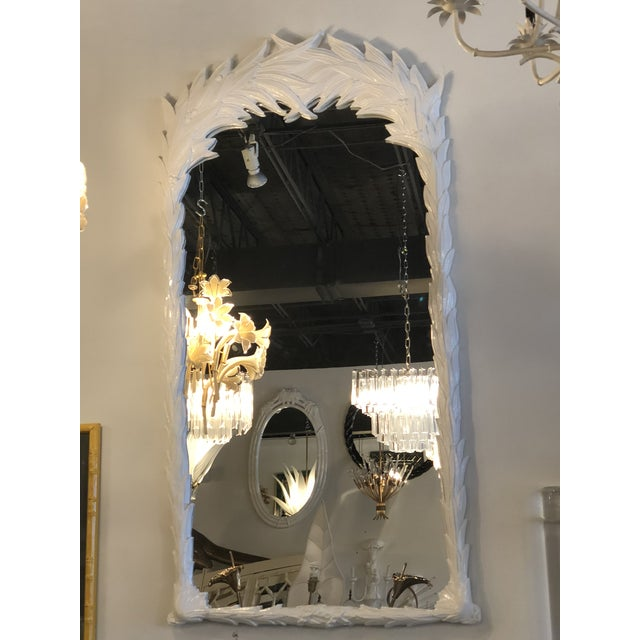Vintage newly lacquered white Leaf wall mirror. New glass mirror. Ready to hang on your wall. Two available.