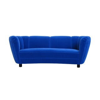 Danish Deco Blue Mohair Settee For Sale