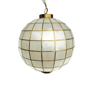 Mid Century Modern Capiz Shell Pendant Light Hanging Globe Swag Light 16 inch For Sale