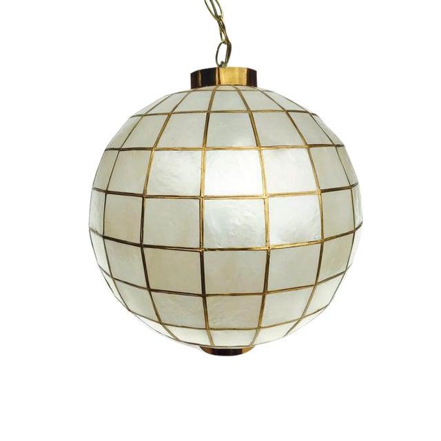 Mid century modern capiz shell pendant light hanging globe swag mid century modern capiz shell pendant light hanging globe swag light 16 inch image 1 aloadofball Choice Image