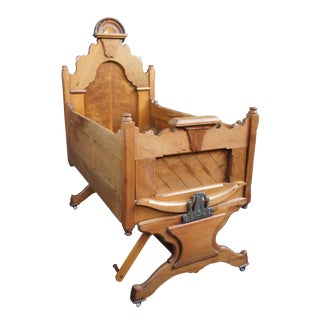 1880s Handmade Antique Victorian Carved Walnut Cradle Mammy Rocker Knockdown Bed For Sale
