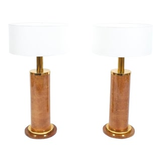 Aldo Tura Pair of Large Table Lamps Parchment, Italy, circa 1960 For Sale