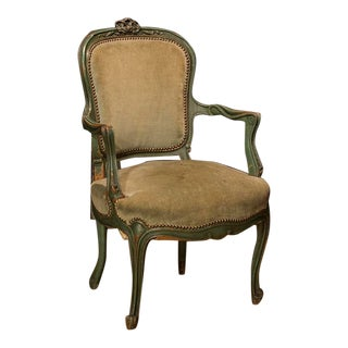 Mid 19th Century French Louis Xv Walnut Fauteuil Chair For Sale