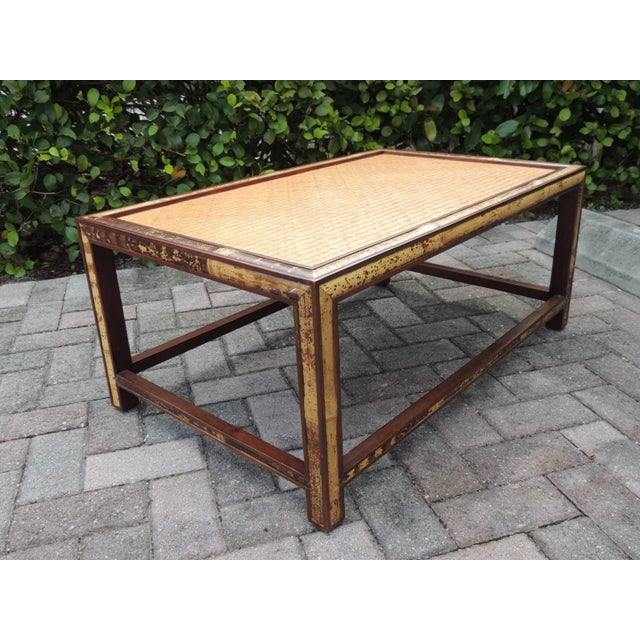 Faux Tortoise Bamboo and Rattan Coffee Table For Sale In Miami - Image 6 of 10