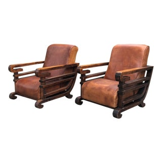 Art Deco Leather Club Chairs - a Pair For Sale