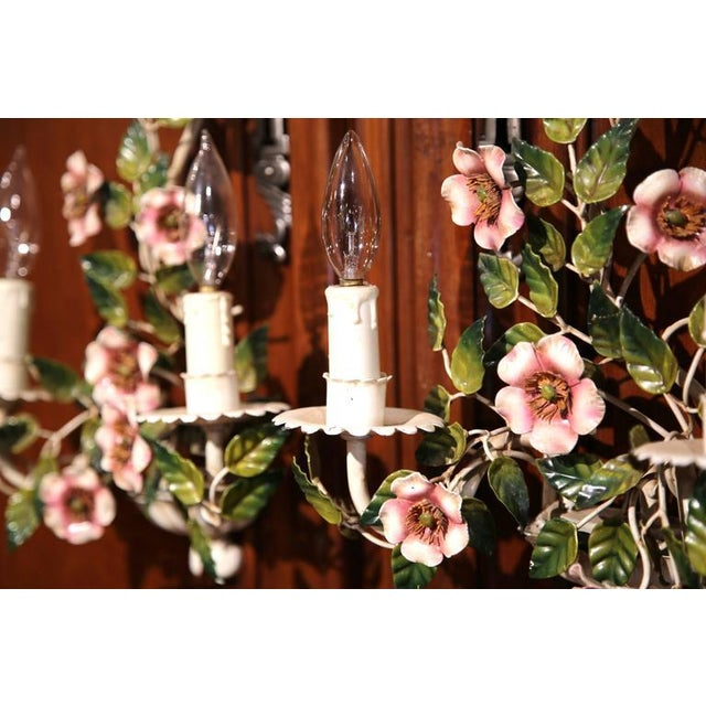 Early 20th Century French Hand-Painted Metal Sconces With Flowers - A Pair - Image 5 of 8