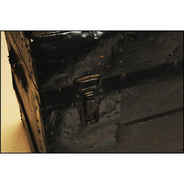 Victorian Antique Black Steamer Trunk - Image 7 of 11