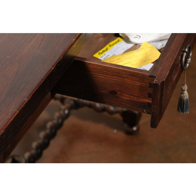 French Walnut Louis XIII Style Desk with Barley Twist Base from the 19th Century For Sale - Image 9 of 13