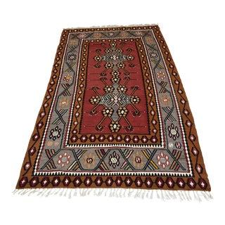 Vintage Turkish Handmade Anatolian Kilim Rug - 3′10″ × 6′7″