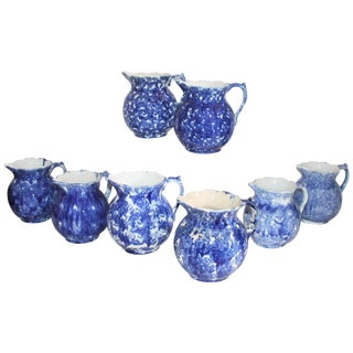 19th Century Bulbous Sponge Ware Pitcher Collection - 8 Piece Set For Sale