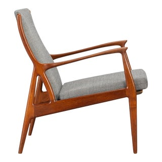 Stunning Reupholstered Teak Lounge Chair by Erik Andersen and Palle Pedersen For Sale