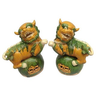 Chinese Guardian Temple Foo Dogs - A Pair For Sale