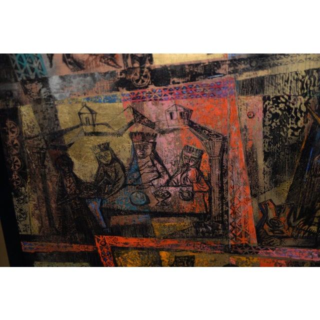 """1956 """"Memory of the Bronze Doors of San Zeno, Italy"""" Oil Painting by Gerda With For Sale - Image 10 of 13"""