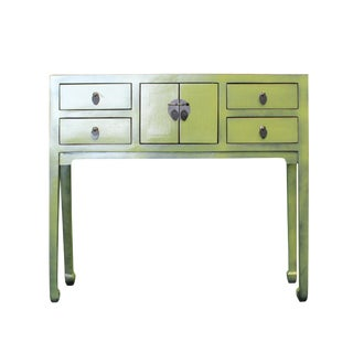 Chinese Oriental Rustic Ivy Leaf Green Lacquer Drawers Side Table For Sale