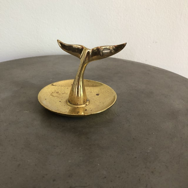 Vintage brass whale tail ring or catchall dish with great patina in good vintage condition.