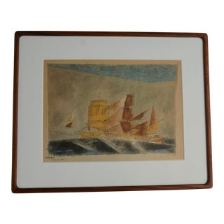 "Lyonel Feininger Cubist Ship Framed Print - ""Vision Einer Bark"" For Sale"