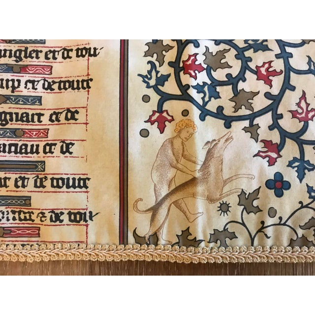Vintage cotton textile featuring the Gregorian Chant. Handsome piece with a Medieval feel. Perfect draped on a side table...