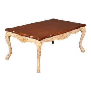 French Louis XV Style Distressed Painted Coffee Table For Sale